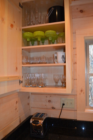 glassware and dishes at log cabin