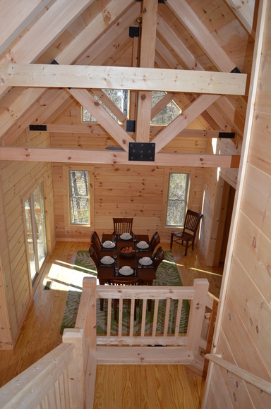timber rafters at vacation rental log cabin